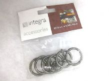 6 Integra Black Nickel Metal curtain pole rings for 19mm rod int dia 25mm small